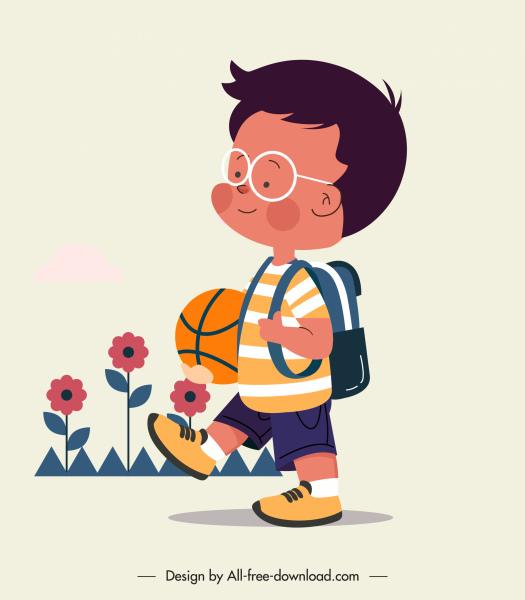 childhood painting cute schoolboy sketch cartoon character