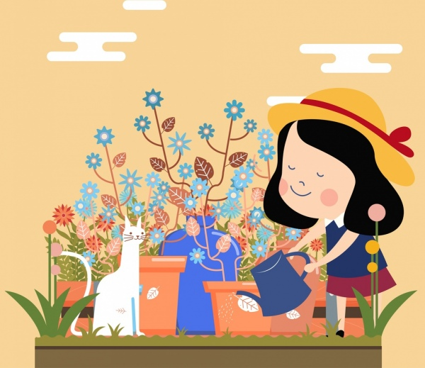 childhood painting girl garden work cat cartoon design