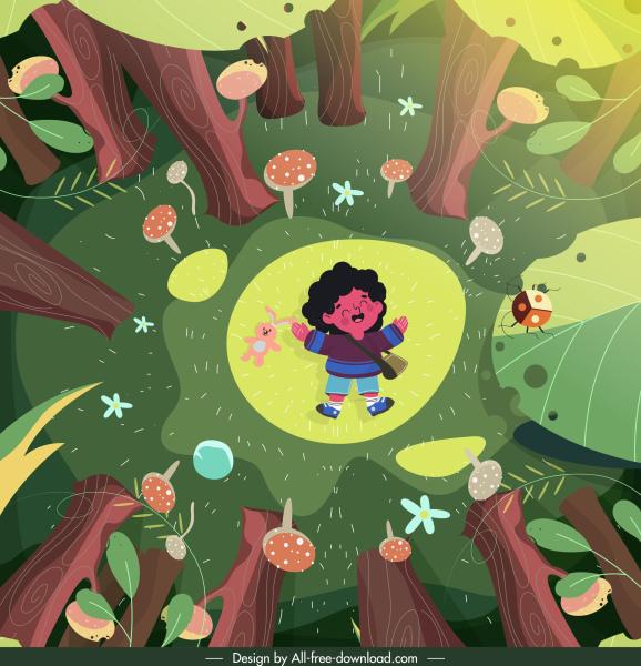 childhood painting joyful kid jungle scene cartoon design