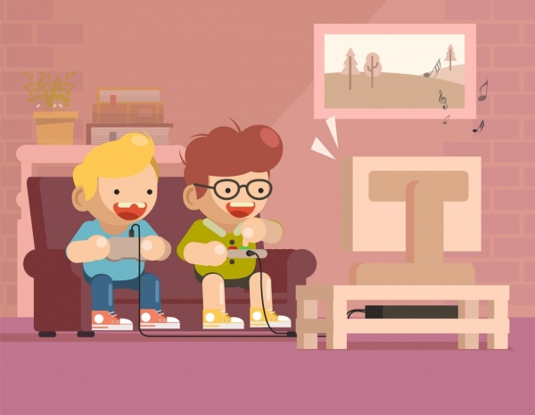 childhood painting kids playing game icons cartoon characters