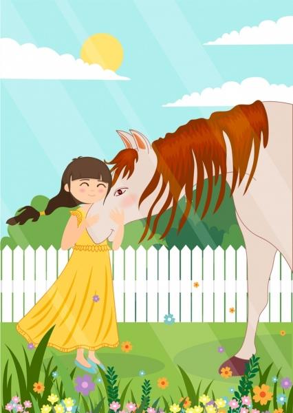 childhood painting little girl horse icons cartoon design