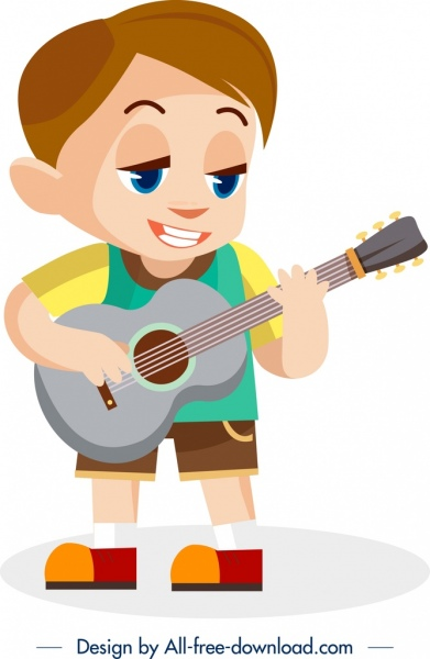 childhood painting playful boy guitar icons cartoon character