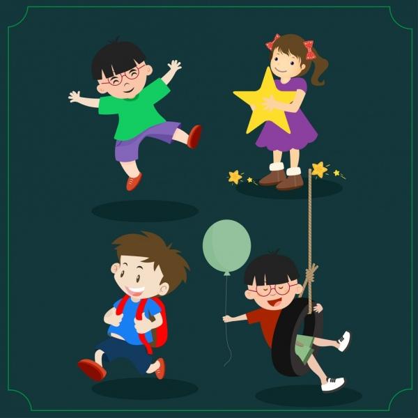 childhood symbols isolation various playful kids icons