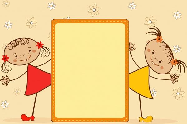 children background cute girls sketch handdrawn design