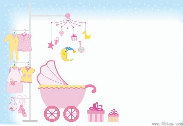 Baby Shower Background Kids Stuffs Design Elements Free Vector In