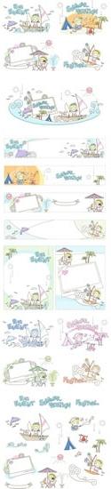 summer time backgrounds beach activities sketch cartoon characters