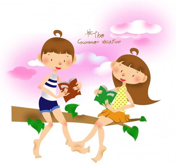 childhood background playful girls icons cute cartoon sketch