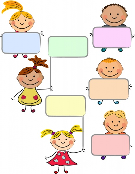 blank text box templates cute kids icons decor free vector in