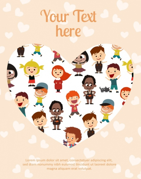 children background heart shape layout