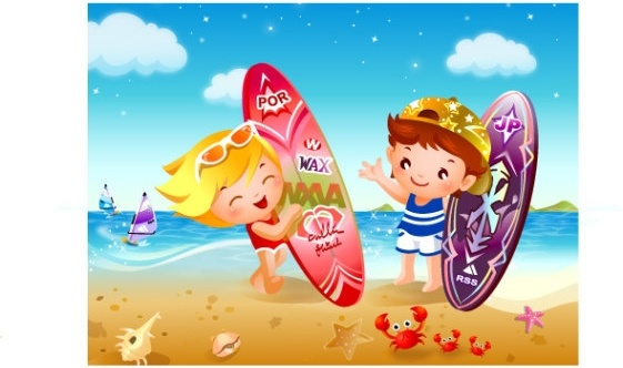 children beach surfing vector