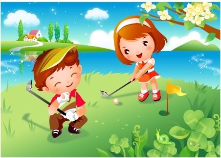 children clip art of golf