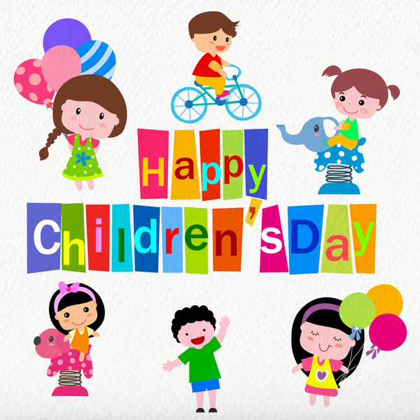 children day greeting card with cute drawings