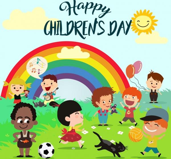 children day poster multicolored cartoon kids rainbow free vintage clip art summer free vintage clip art