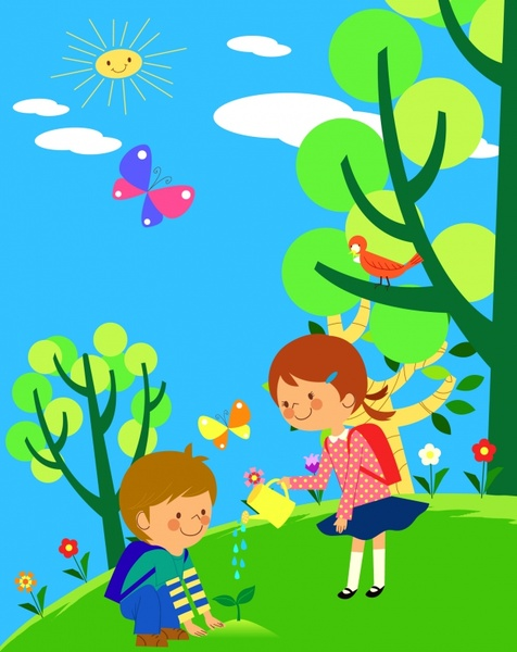 environment painting children planting tree cartoon characters
