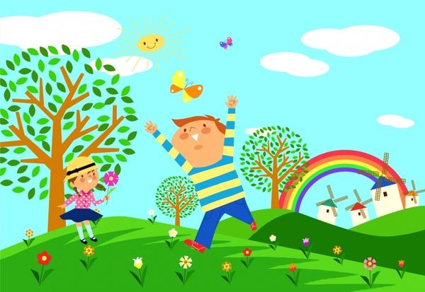 childhood painting joyful children cute colorful cartoon design