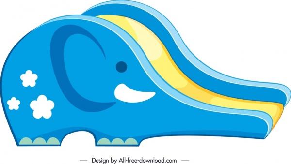 children slide template elephant shape colorful 3d