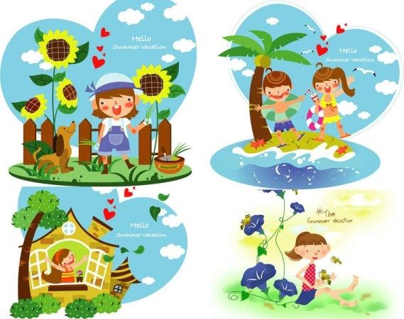 children summer vacation vector 2
