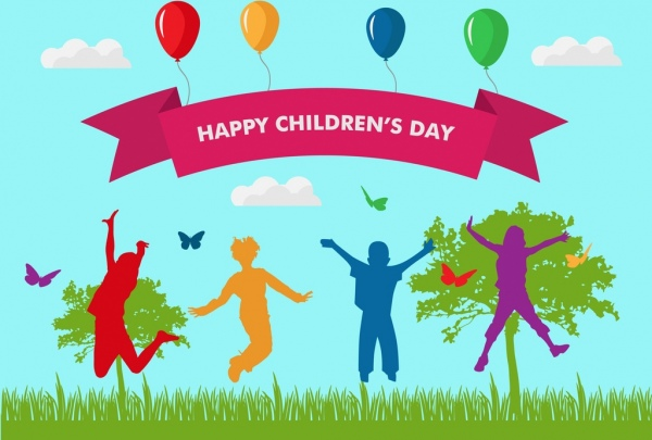 childrens day banner design colored silhouettes ribbon decoration