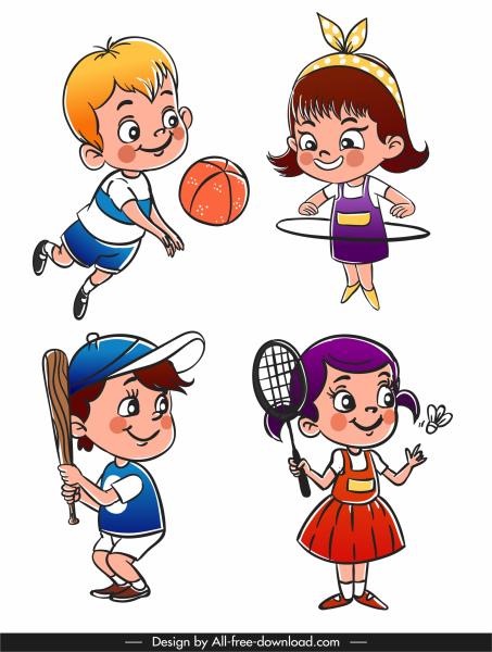 chilhood icons playful kids sketch cute cartoon characters