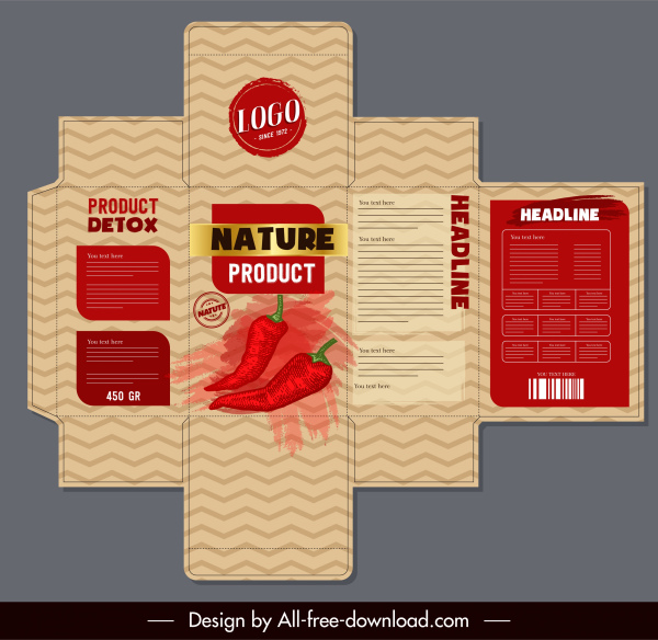 chili package template classical grunge decor