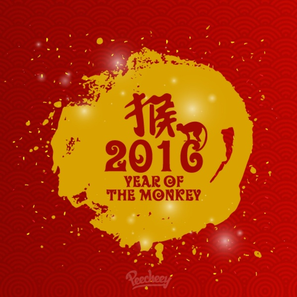 chinese 2016 new year greeting card free vector in adobe illustrator
