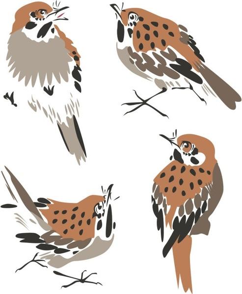 chinese painting bird 03 vector