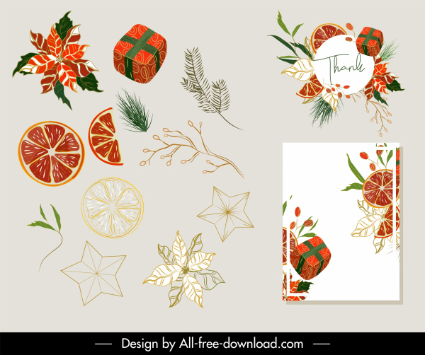 chirstmas card decor elements elegant classic plants gifts