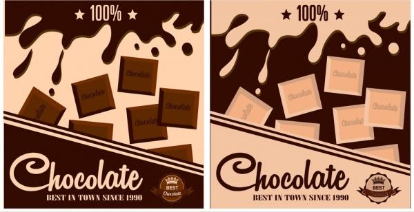 chocolate advertisement sets dark design splashing milk decor