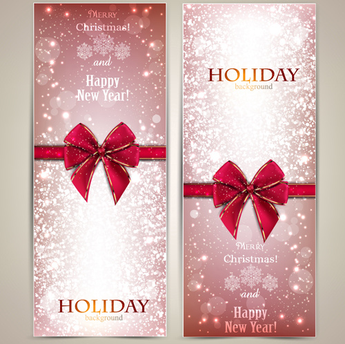 christmas and new year gift cards ornate vector