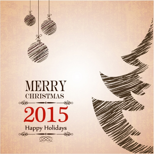 Christmas and New Year greeting card Free vector in Adobe ...