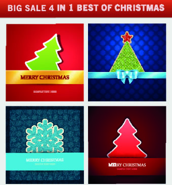 christmas background 4 in 1 vector set