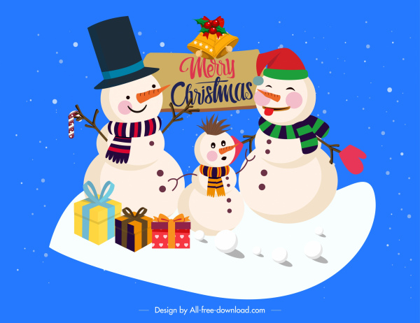 christmas background cute snowman family stylized cartoon design 6843791
