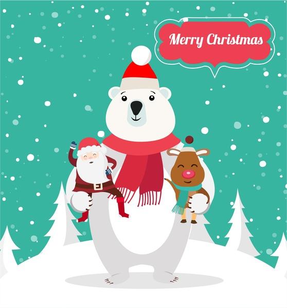 Christmas Background Design With Cute Polar Bear Free Vector