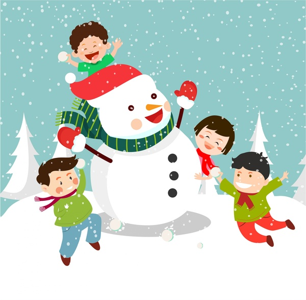 Christmas Pictures For Kids.Christmas Background Design With Joyful Kids And Snowman