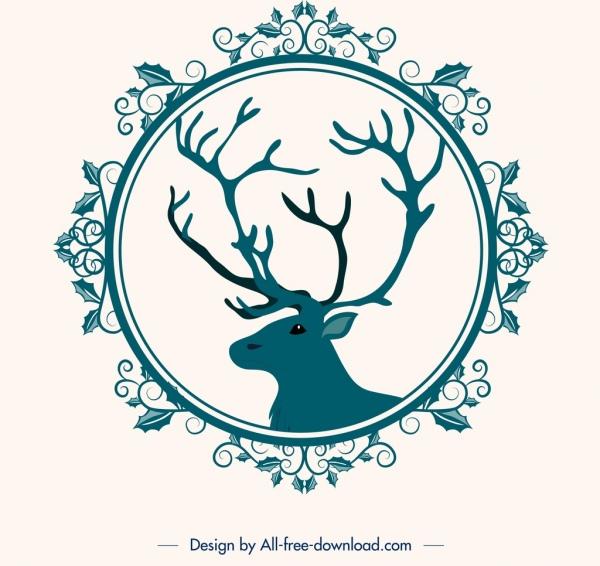 christmas background flower frame reindeer head icons decor