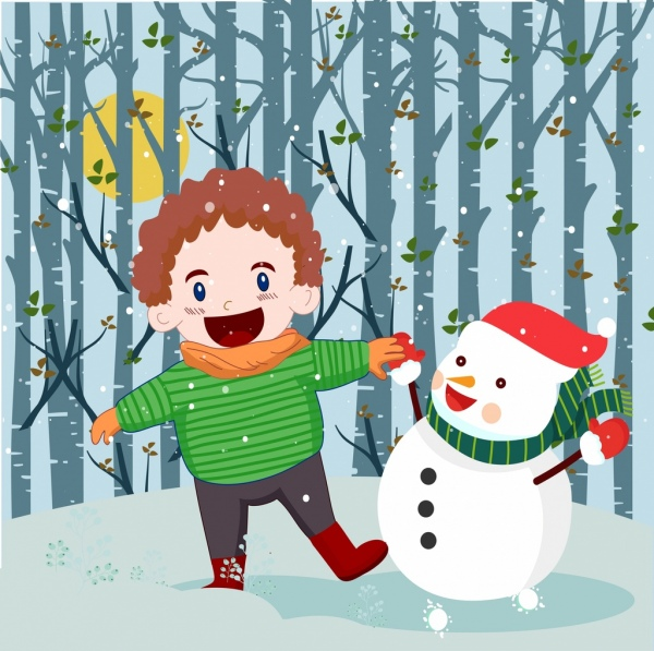 christmas background kid stylized snowman icons colored cartoon