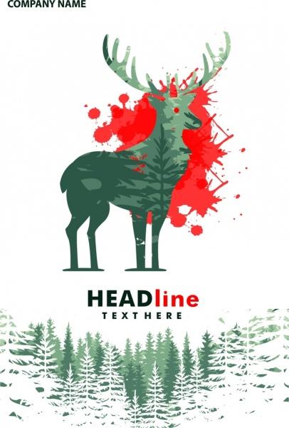 christmas background reindeer forest landscape decoration grunge style