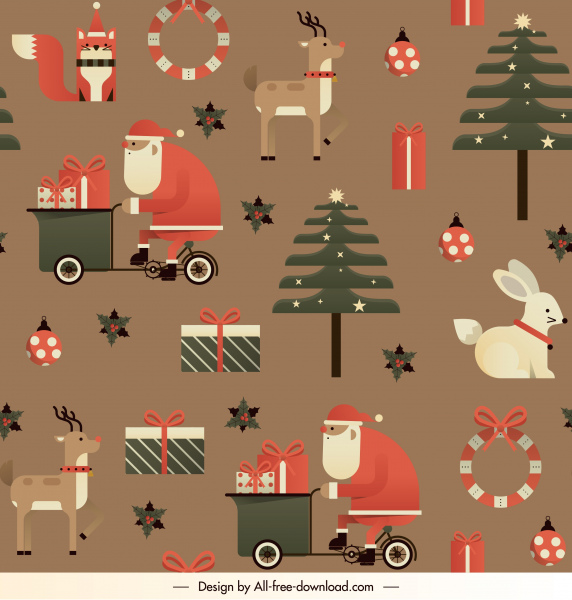 christmas background repeating flat classical symbols decor