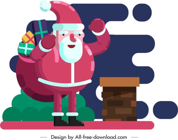 christmas background santa claus icon colored cartoon character