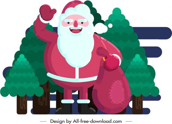 christmas background santa icon cartoon sketch