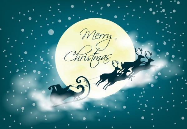 christmas background santa reindeer moonlight icons bokeh design
