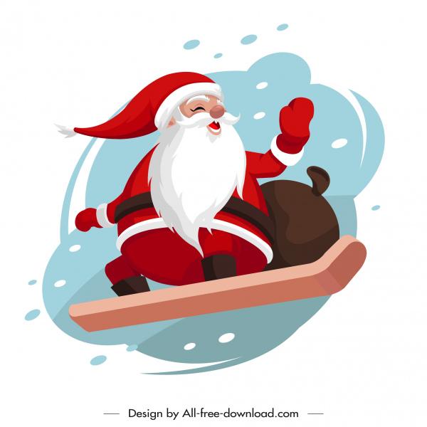 christmas background skiing santa sketch dynamic cartoon