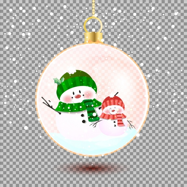 christmas background snowman round bauble icons