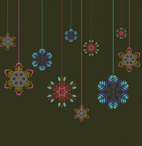 christmas background template colorful hanging snowflakes decoration