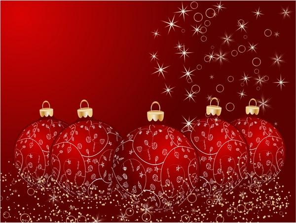 xmas background twinkling red bauble balls decor