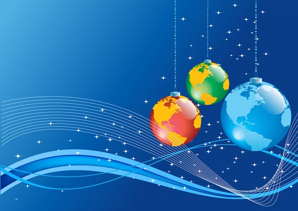 Christmas Background with Earth globe ball