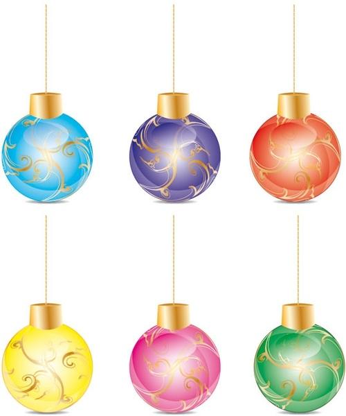 christmas ball icons collection shiny colorful design