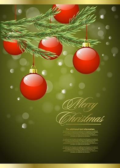 christmas banner elegant shiny baubles decor bokeh design