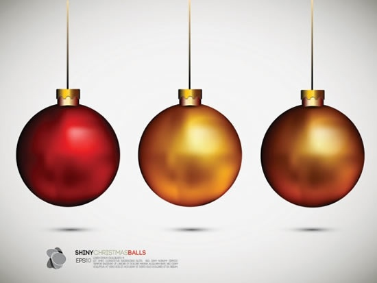 christmas bauble balls icons modern shiny colored design