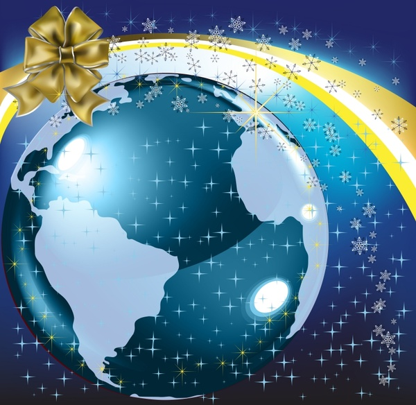christmas ball background vector butterfly flower earth